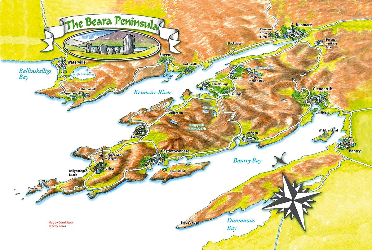 Kerry Gems Beara Peninsula Map   Kerry Gems
